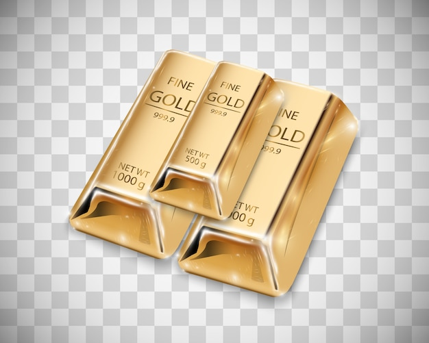 Gold bar isolated on transparent background.