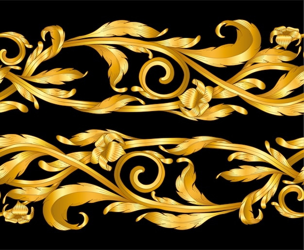 Gold baroque frame scroll hand draw