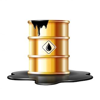 原油のこぼれた水たまりにオイルドロップラベルが付いた金の樽。白い背景の上