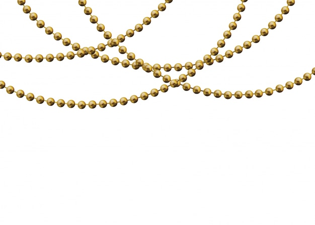 Золотые бусы на белом фоне. красивая цепочка желтого цвета.