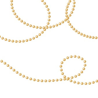 Gold beads on a white background