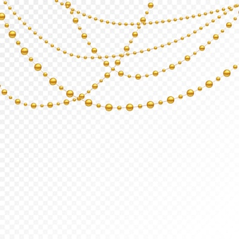 Gold beads on a white background.