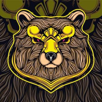 Gold bear head esport logo