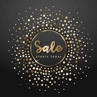Gold big sale background in frame.