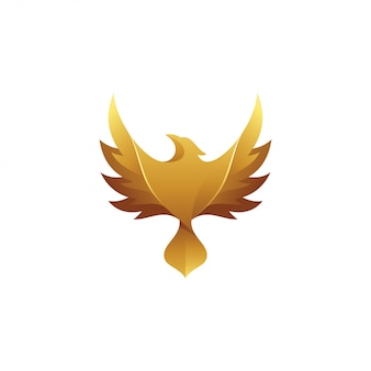 Gold bird eagle falcon hawk wing logo