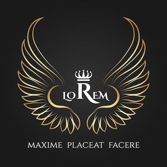金の鳥の羽のロゴ。ゴールデンエンジェルウィングドビジネス。ビジネスのための王冠を持つ翼の天使