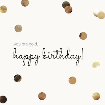 Gold birthday greeting template with beige background
