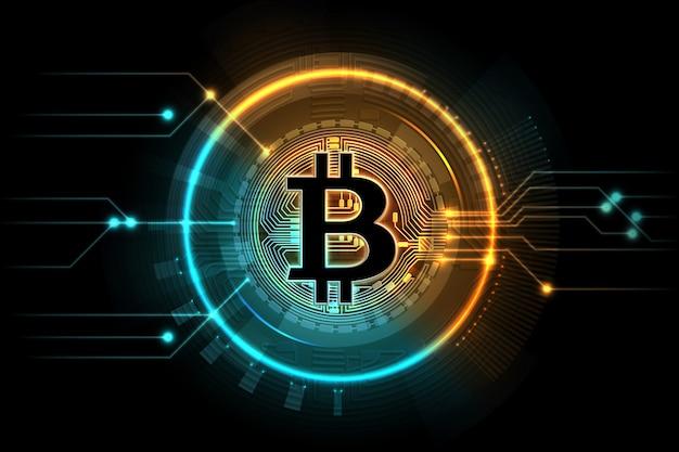 Золотой биткойн. символ горного дела, интернет-биржа цифровой рынок.