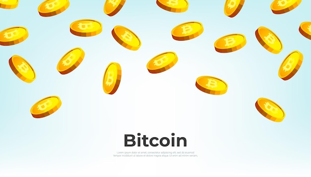 Gold bitcoins falling from the sky. bitcoin cryptocurrency concept banner background.