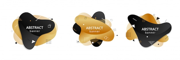 Gold and black abstract liquid shapes