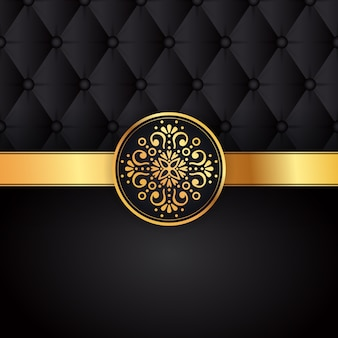 Gold black background design vector. sun indian pattern