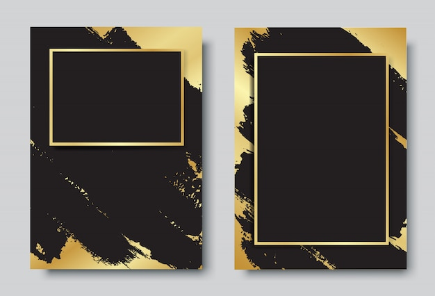 Gold and black background with frame design set