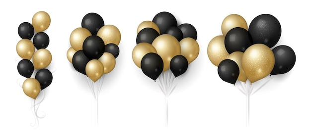 Gold black balloons. glittered balloon bunch, isolated flying festive decoration. realistic 3d birthday wedding sale or anniversary elements vector illustration. gift balloon helium to celebration