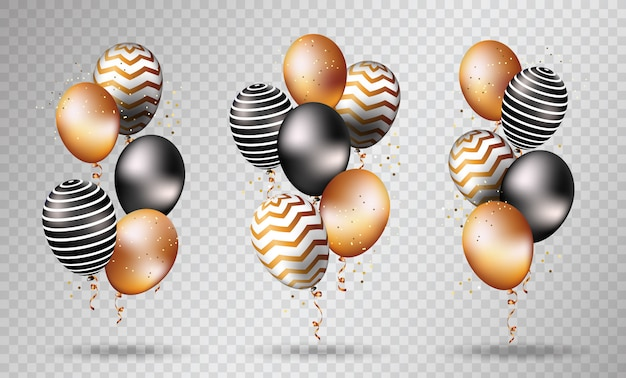 Gold and black balloons on transparent