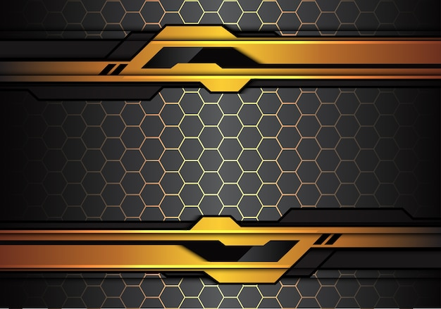 Gold black futuristic line on hexagon mesh background.