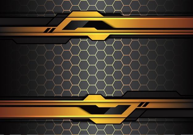 六角形の背景に金色の黒い未来的な線。