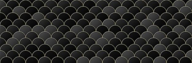 ゴールド、黒のグラデーションカラーサークルシームレスパターンの背景、ラインの幾何学的な豪華さ、最小限のデザインスタイル