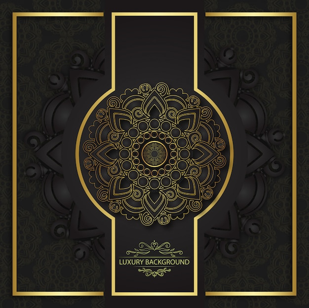 Gold and black invitation template with floral mandala ornament