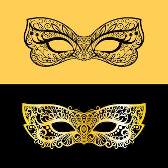 Gold and black lace mask