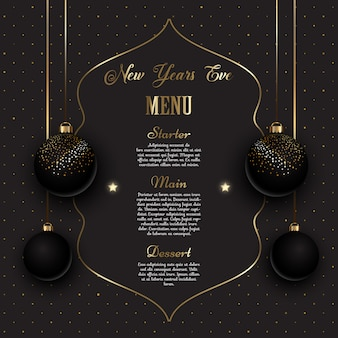 Gold and black new years eve menu