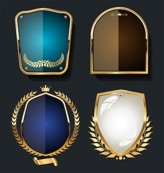 Gold and black shield with gold laurels