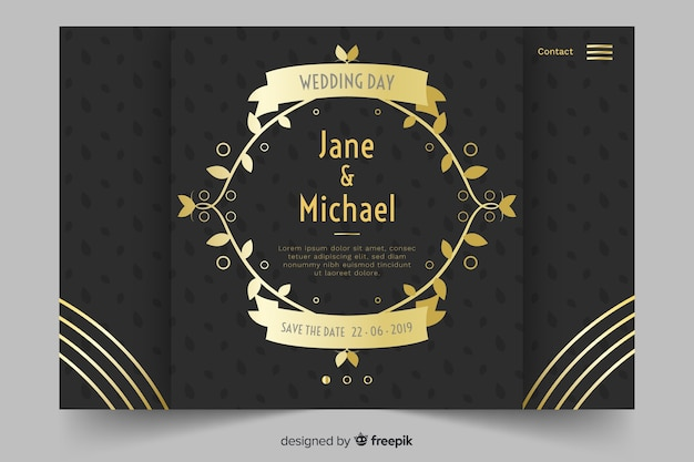 Gold and black wedding landing page