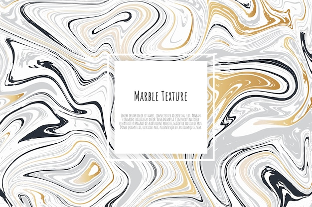 Gold, black, white marble template card