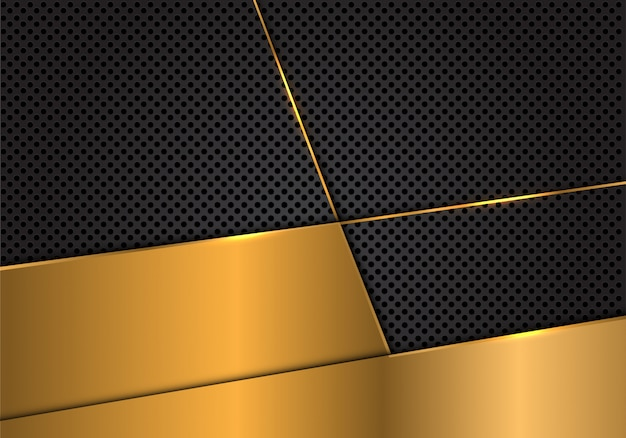 Gold blank on dark grey circle mesh background.