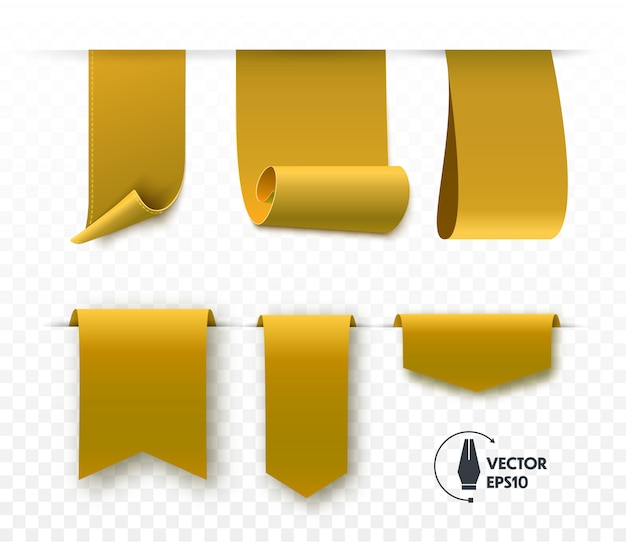 Gold blank tags and ribbons isolated. vector banners, badges and labels.