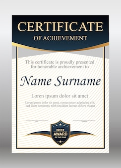 Gold and blue certificate template
