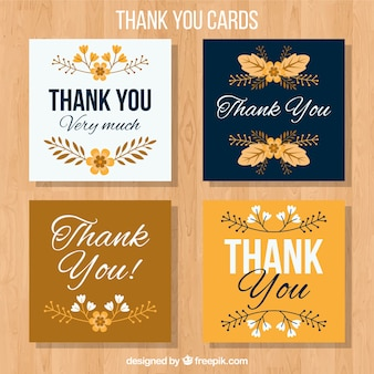 Gold and blue thank you cards