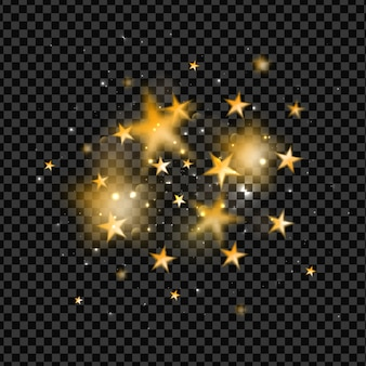 Gold blurred stars