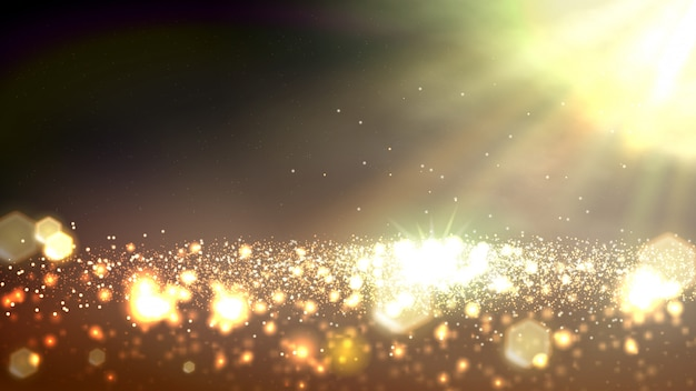 Gold bokeh abstract banner background