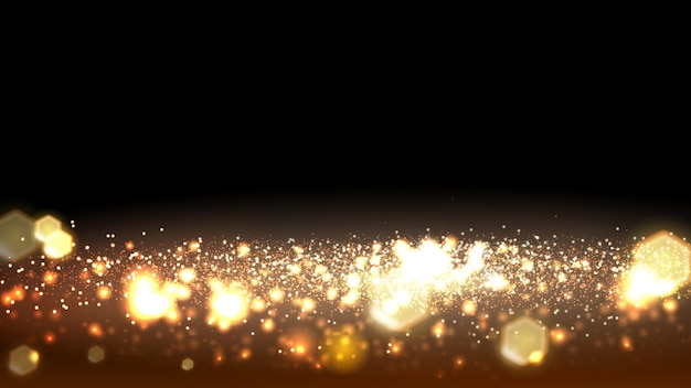 Gold bokeh abstract banner background.