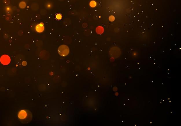 Золотой боке размытый свет. абстрактный фон с эффектом боке. магическая концепция.
