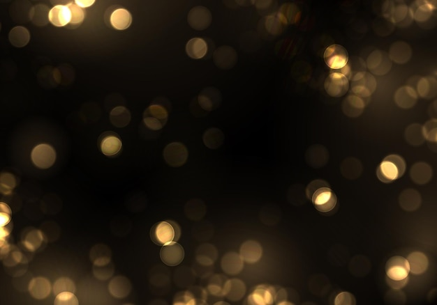 Gold bokeh blurred light on black background golden lights christmas and new year holidays template abstract glitter defocused blinking stars and sparks vector eps 10