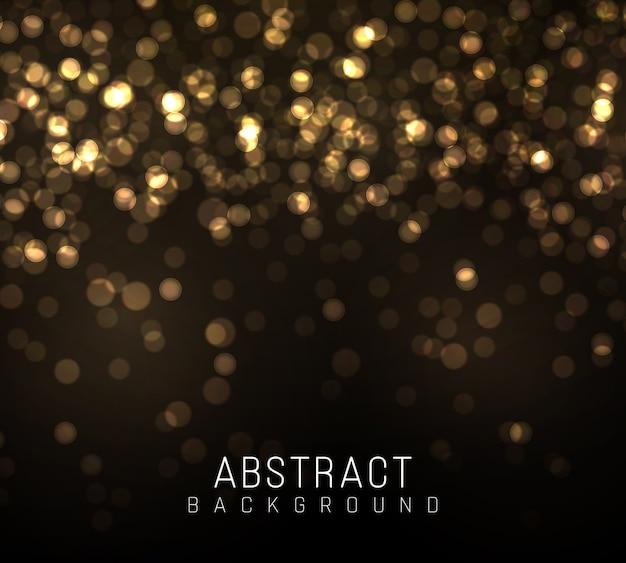 ゴールドのボケは黒い背景にぼやけた光。黄金色のライト抽象的なキラキラ多重点滅星と火花。