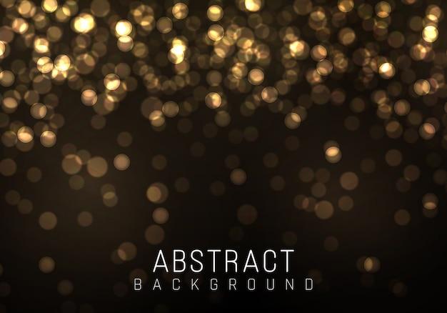 ゴールドのボケは黒い背景にぼやけた光。黄金色のライト。抽象的なキラキラデフォーカス点滅星と火花。