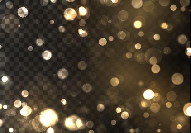 ゴールドのボケは、黒い背景にぼやけた光。黄金色のライト抽象的なキラキラ多重点滅星と火花。
