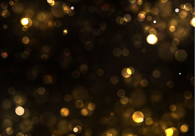 Золото боке размытые свет на черном фоне. золотые огни и новогодние праздники шаблон. абстрактный блеск расфокусированным мигающие звезды и искры.