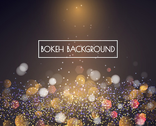Gold bokeh lights and glitter background vector