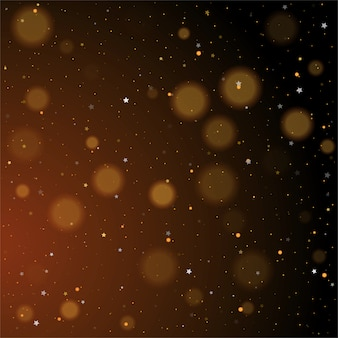 Gold bokeh, shiny glittering golden and silver stars on dark background
