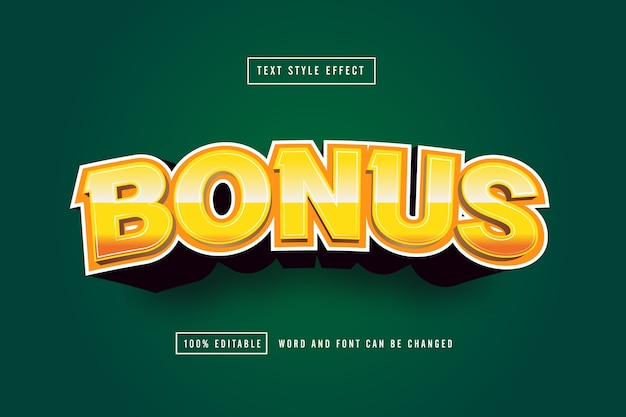 Gold bonus text effect editable