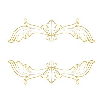 バロック様式のゴールドボーダーとフレーム。装飾要素