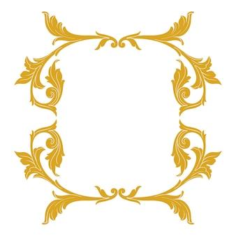 Золотая рамка и рамка в стиле барокко. элементы орнамента