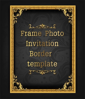 Gold border frame photo template vector design