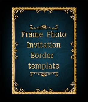 Gold border frame photo template vector design