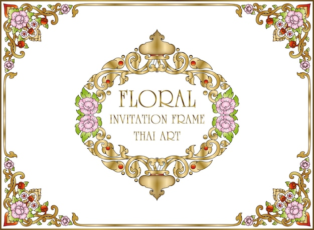 Gold border and frame template with corner thailand line floral and art