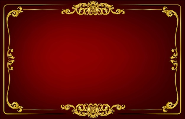 Gold border and frame template with corner thailand line floral for picture