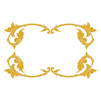 Gold border and frame with baroque style. ornament elements